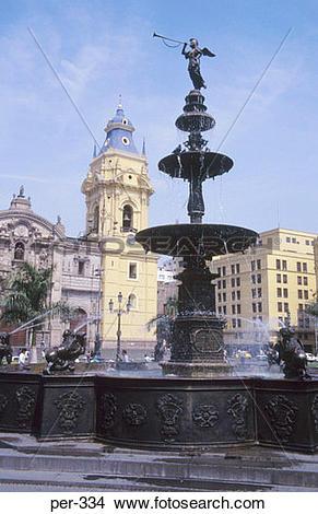 Stock Photo of View of Fountain in Plaza de Armas Lima Peru per.