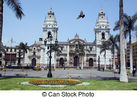 Stock Photography of catedral on plaza de armas plaza mayor lima.