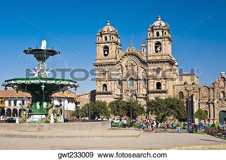 Stock Photograph of Fountain in front of a church, La Compania.