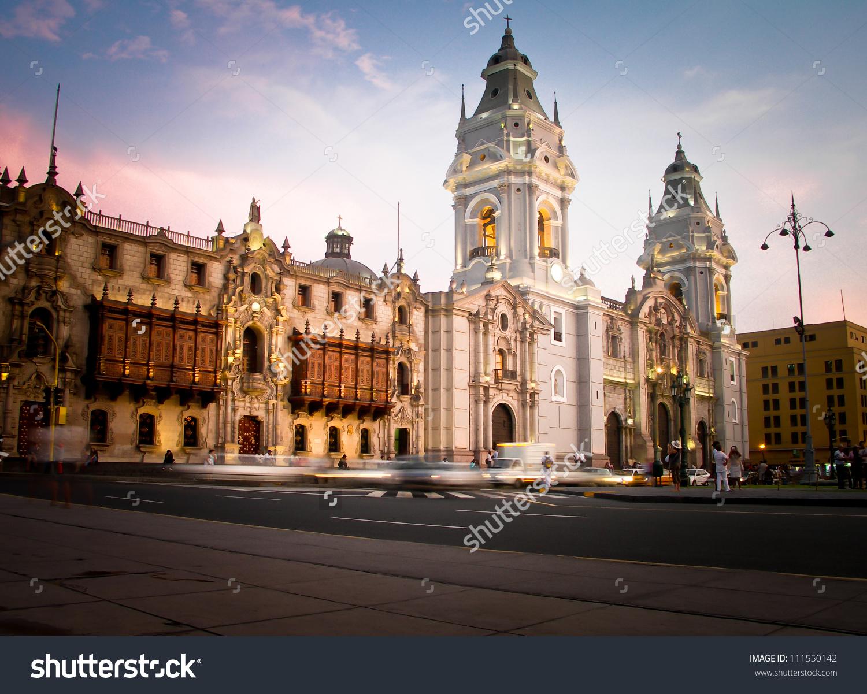 Plaza De Armas Lima Peru Stock Photo 111550142.