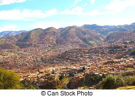Stock Photo of aerial view of Plaza de Armas Cuzco city peruvian.