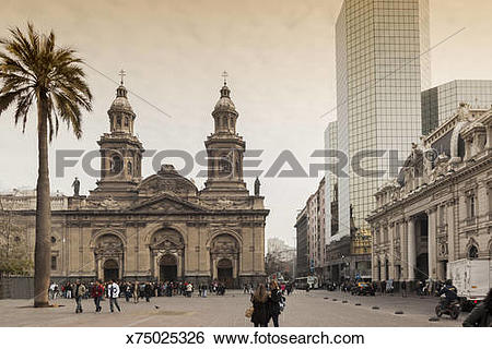 Stock Images of cathedral of plaza de armas in santiago de chile.