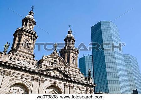 Pictures of Metropolitan Cathedral. Plaza de Armas. Santiago.