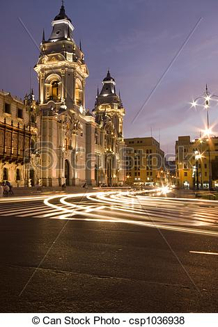 Pictures of catedral on plaza de armas mayor lima peru night scene.