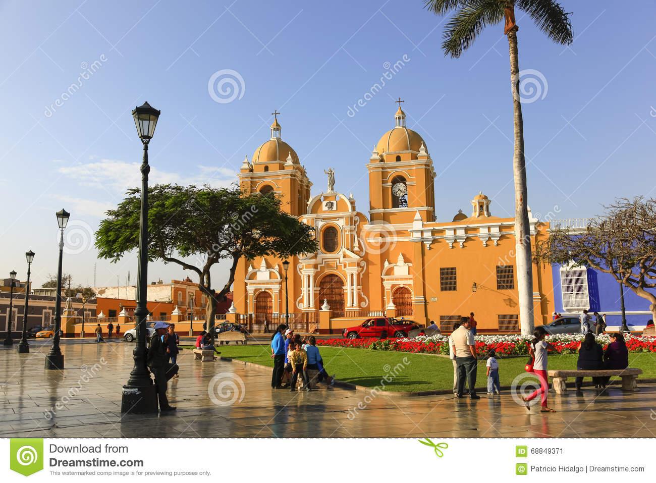 Cathedral In The Plaza De Armas In Trujillo Editorial Photo.