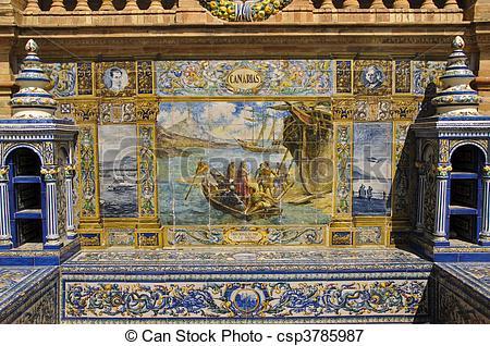Stock Photos of tile painting , Spanish Square (Plaza de Espana.