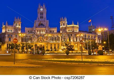 Picture of Plaza de Cibeles at night, Madrid, Spain csp7206287.