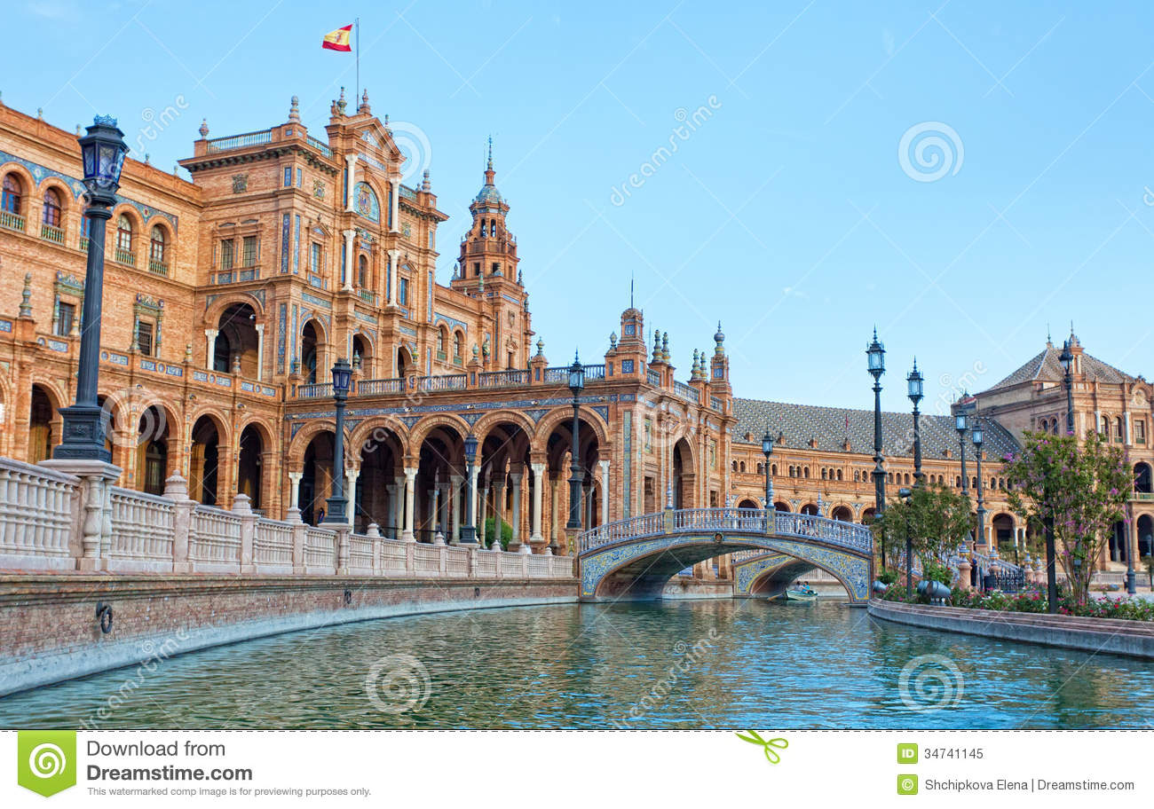 Tourists Go Boating On The Channel On Plaza De Espana Royalty Free.