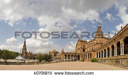 Stock Image of Inside Plaza Espana Sevilla Pano k0705815.