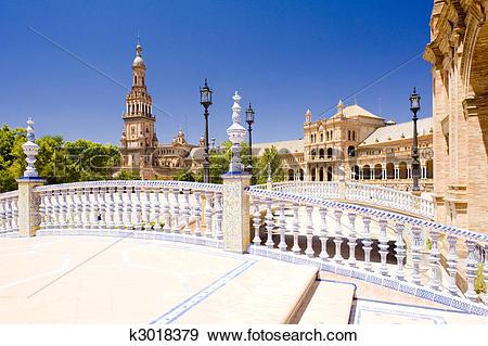 Stock Photograph of Spanish Square (Plaza de Espana), Seville.