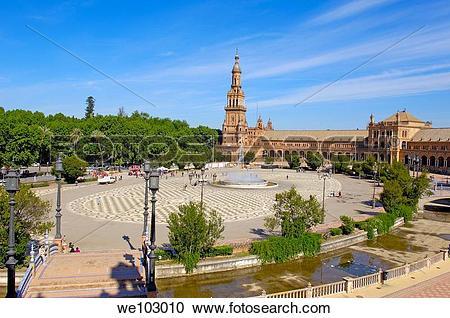 Stock Photography of Plaza de España in Maria Luisa Park, Seville.