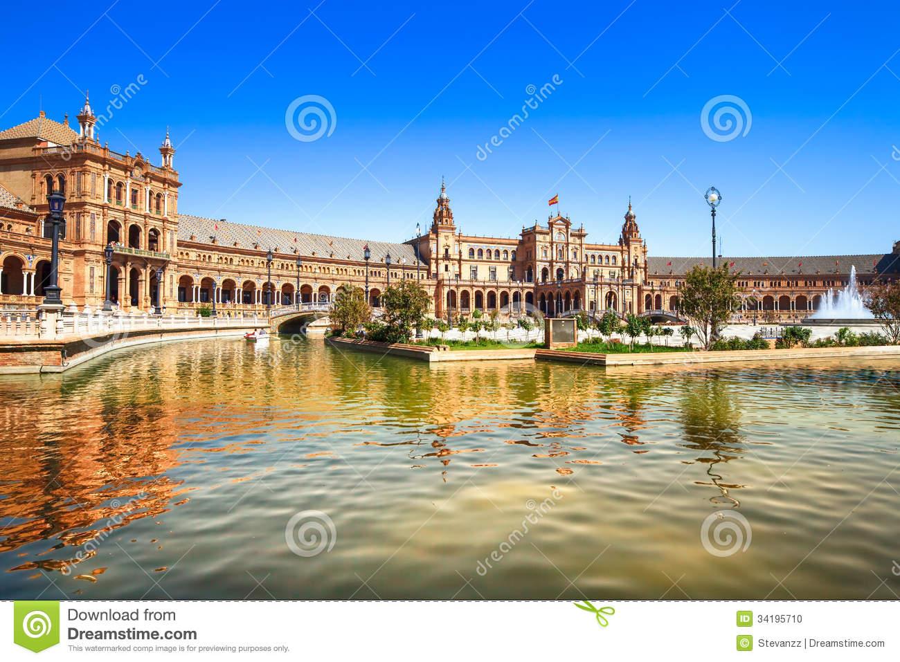 Plaza De Espana Seville, Andalusia, Spain, Europe Stock Photo.