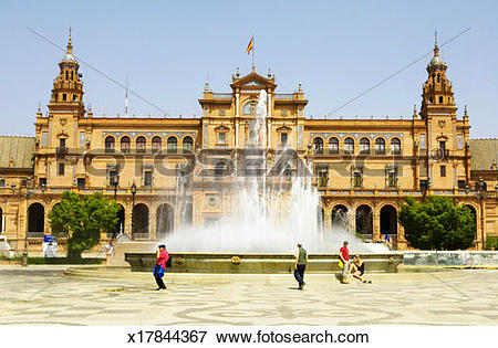 Picture of Spain, Andalucia, Seville, fountain of Plaza de Espana.