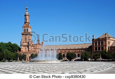 Stock Photography of Plaza de Espana, Seville, Spain..