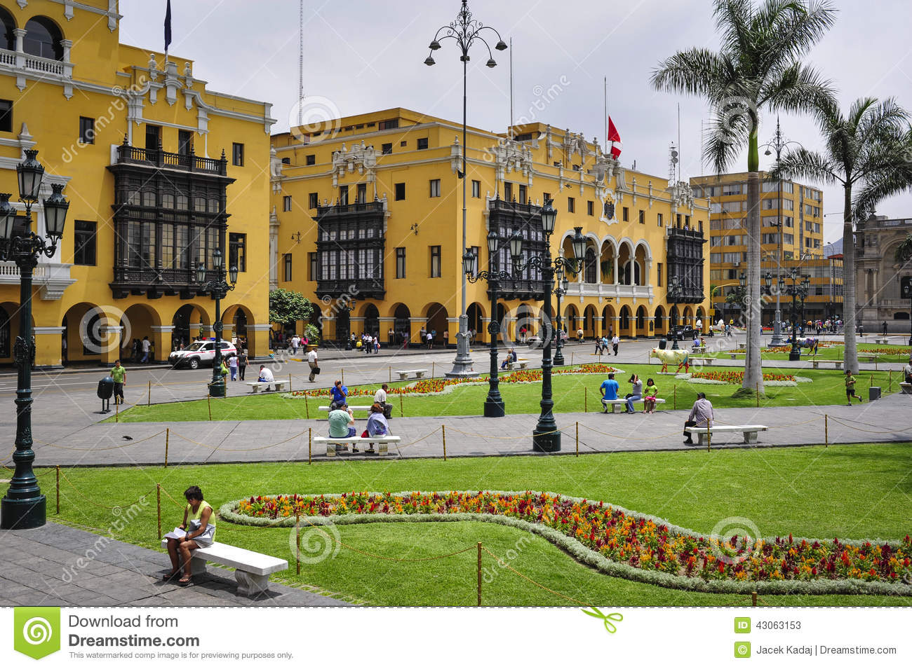 Lima Municipal Building City Hall On Plaza Mayor Armas Editorial.