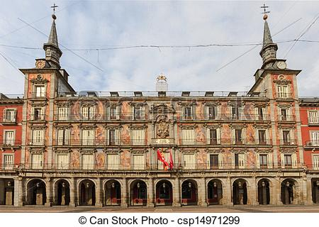 Stock Photographs of Madrid, Plaza Mayor, Casa de la Panaderia.