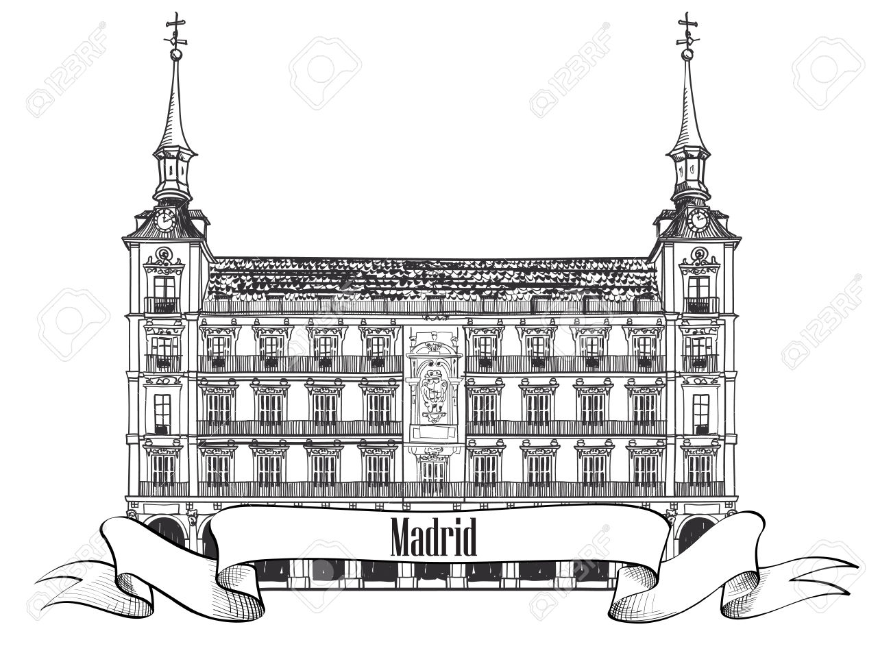 Plaza Mayor In Madrid, Spain Hand Drawing Vector Illustration.