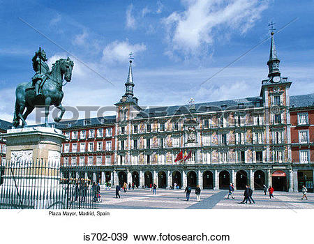 Stock Photograph of Plaza Mayor, Madrid, Spain is702.