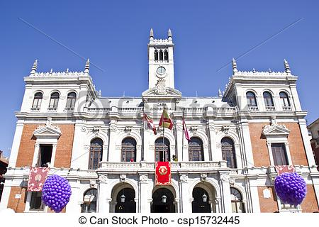Stock Photo of City hall in Plaza mayor in Valladolid.