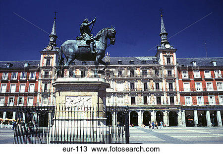 Stock Photo of Statue Man on Horseback Plaza Mayor Madrid Spain.