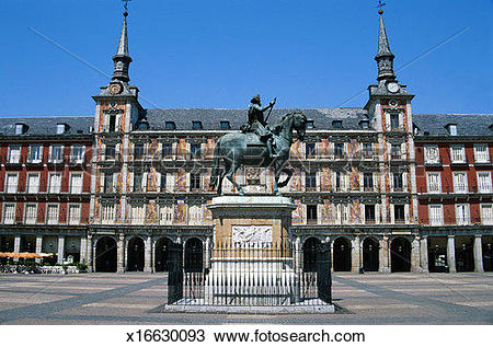 Stock Photo of Plaza Mayor with Statue of Felipe III x16630093.