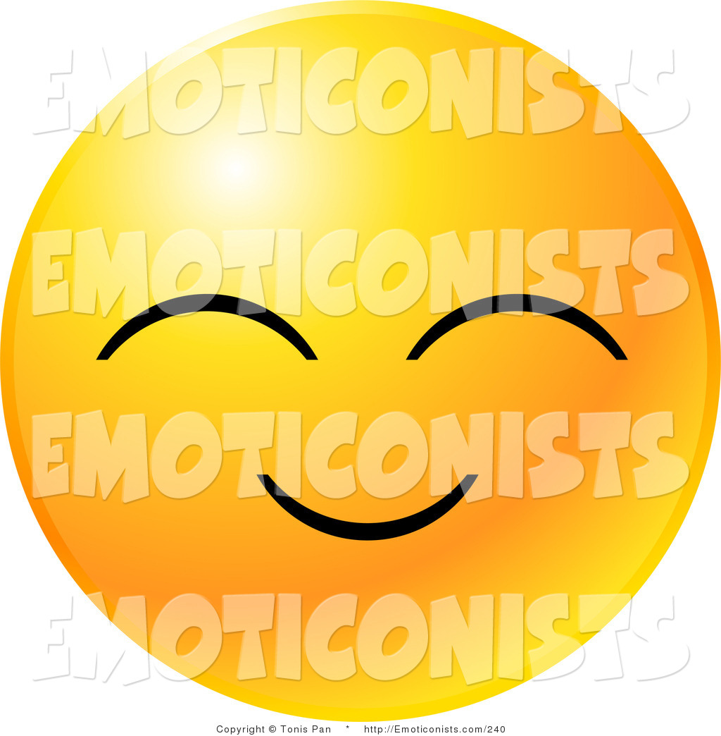 Clip Art of a Yellow Emoticon Face with a Pleasant Smile with Eyes.