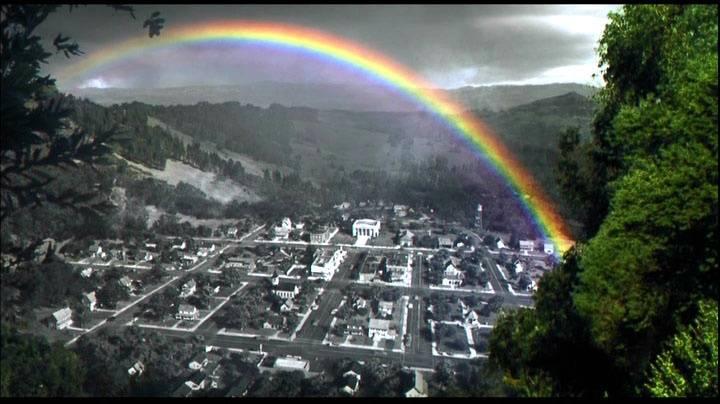 A technicolour Pleasantville rainbow.