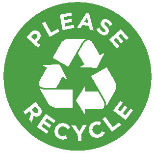 New! Please Recycle Icon Label.