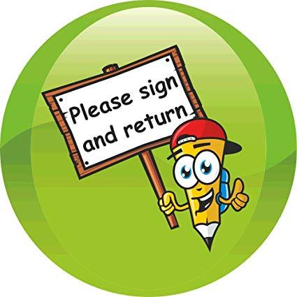 90 Sign & Return School Reminder 35mm Stickers.