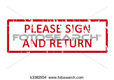 Drawings of Please sign and return office rubber stamp k3382934.