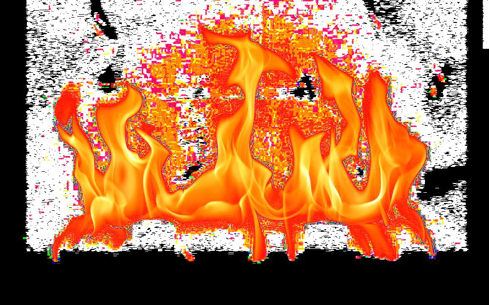 Fire burning boy.