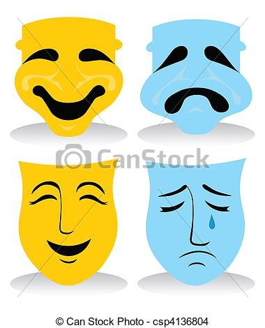 EPS Vector of Face packs, pleasure and grief. A vector.