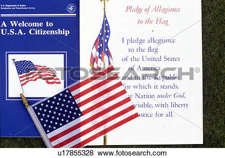 Pictures of The Pledge of Allegiance with American Flag, Los.