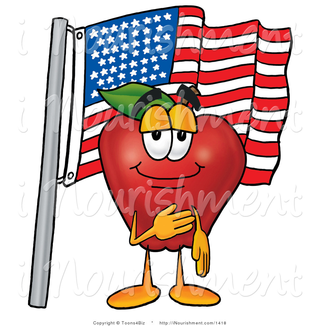 Clipart of a Patriotic Happy Red Apple Character Mascot Giving the.