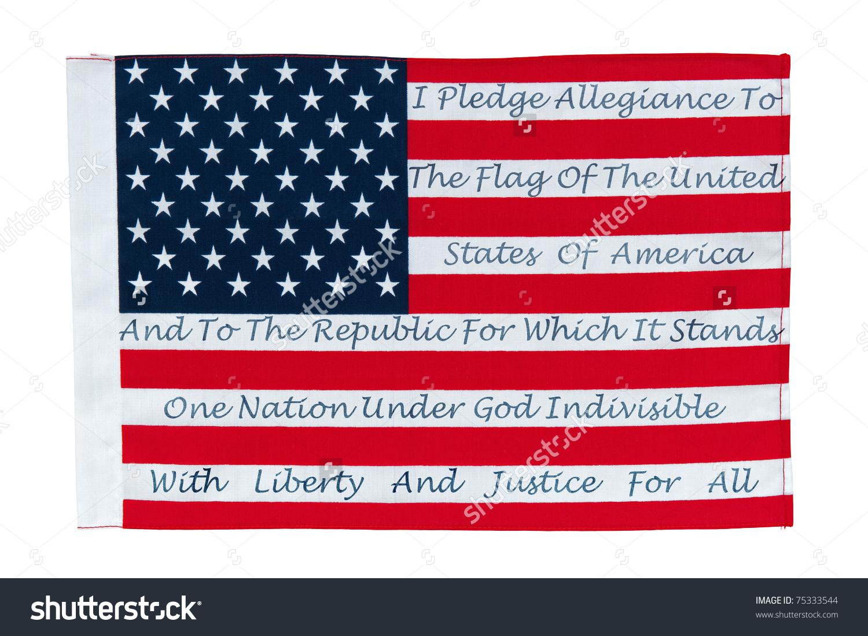 American Flag Pledge Allegiance Printed On Stock Photo 75333544.