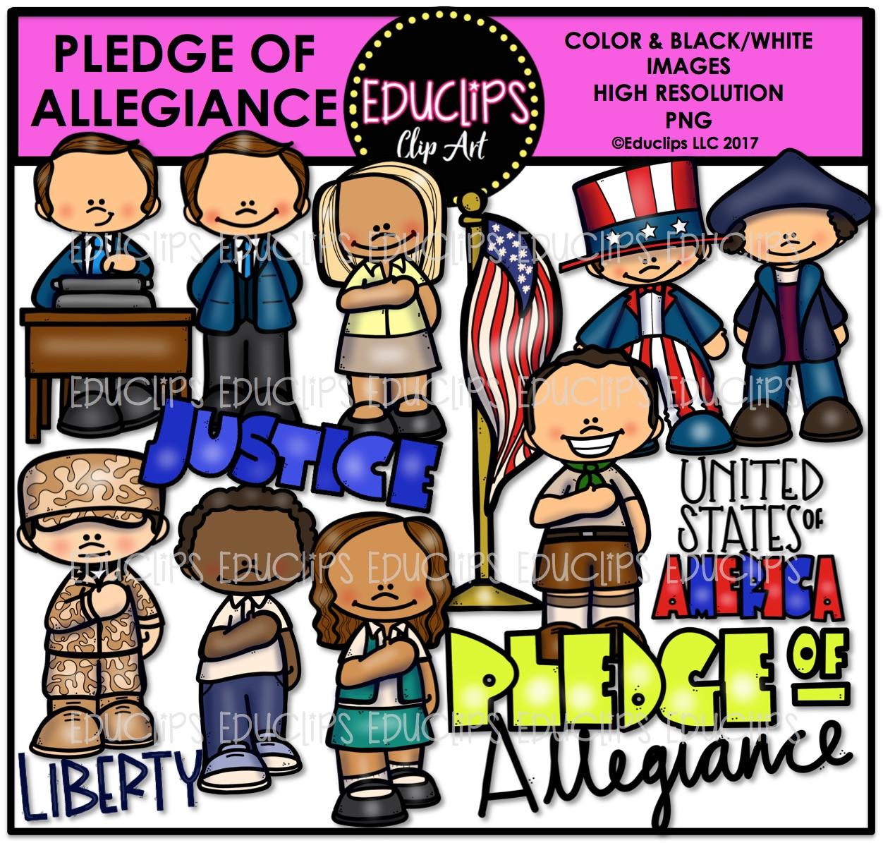 Pledge Of Allegiance Clip Art Bundle (Color and B&W).