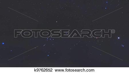 Stock Photo of Orion Constellation, Pleiades, Sirius and Venus.