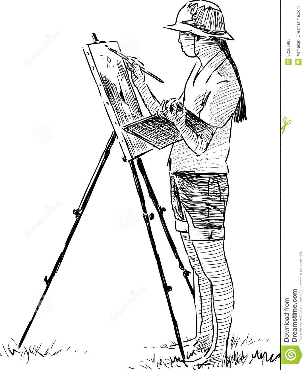 Artist In Plein Air Royalty Free Stock Photo.