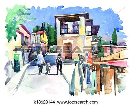 Clipart of original watercolor painting on paper of old street in.