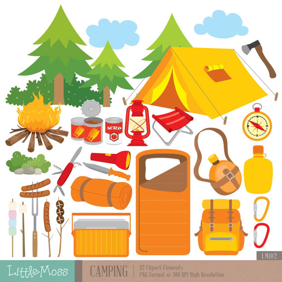 Camping Digital Clipart Outdoor Clipart Campfire by LittleMoss.
