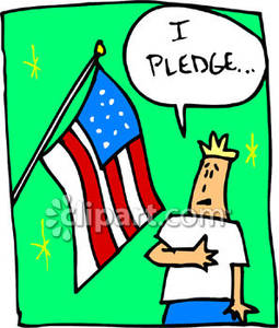 Boy Saying the Pledge of Allegiance Royalty Free Clipart Picture.