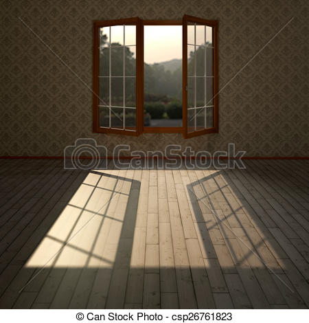 Clip Art of living room with open windows and plenty of natural.