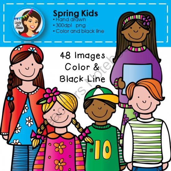Spring Kids Clip Art from Lindy du Plessis on TeachersNotebook.com.