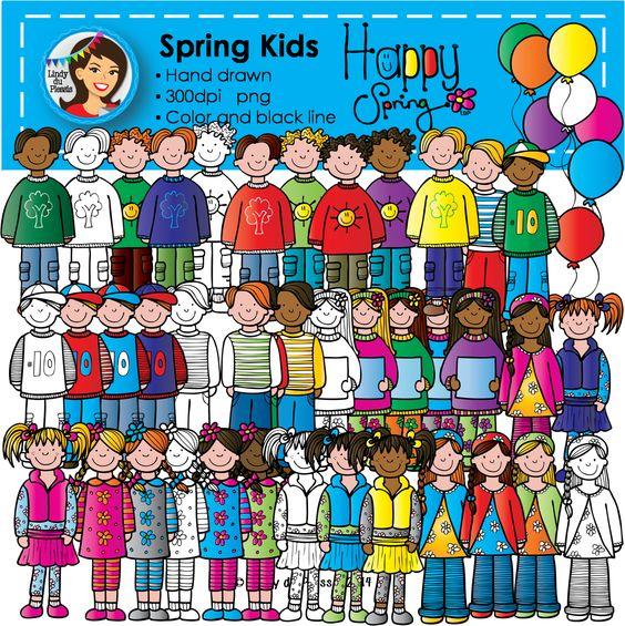 Spring Kids Clip Art.