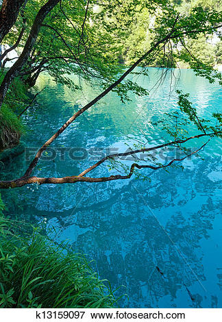 Picture of Summer azure limpid transparent lake (Plitvice, Croatia.