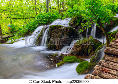 Stock Illustration of Plitvice lakes of Croatia.