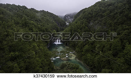 Stock Photograph of aerial view on Plitvice National Park.
