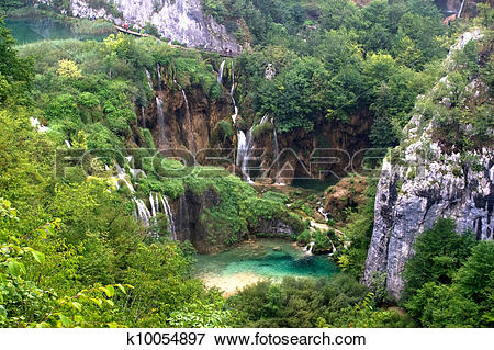 Picture of Plitvice waterfall landscape with lake k10054897.