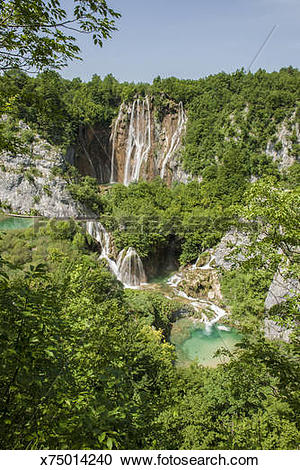 Stock Photography of Plitvice lakes National Park, Veliki Slap.