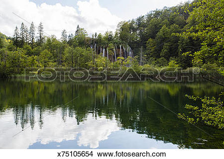 Stock Photo of The Gradinsko Lake, inside Plitvice National Park.